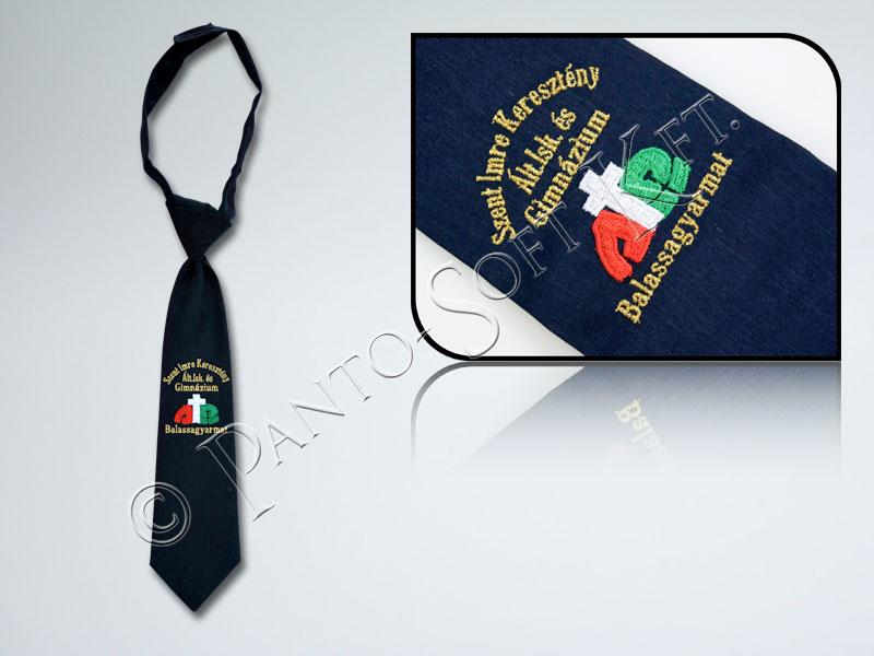 0aa7b8ad15 iskolai címerrel hímzett nyakkendő gyerekeknek